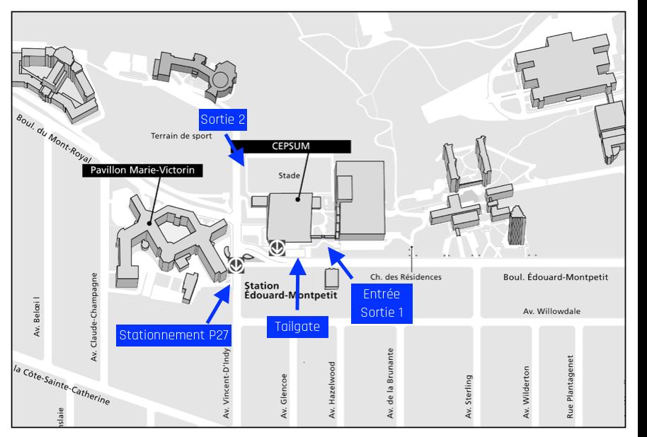 Carte du stade extérieur deu CEPSUM